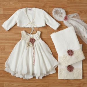 Ολοκληρωμένο πακέτο βάπτισηs με αυτό το φόρεμα New Life (#2334-2-110#) Με βαλίτσα rain η παγκάκι θρανίο. Δωρεάν Μεταφορικά!