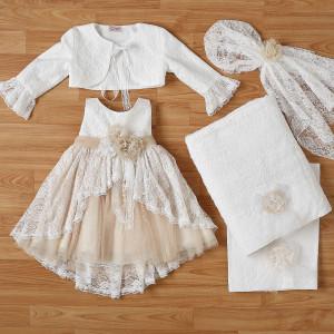 Ολοκληρωμένο πακέτο βάπτισηs με αυτό το φόρεμα New Life (#2336-3-110#) Με βαλίτσα rain η παγκάκι θρανίο. Δωρεάν Μεταφορικά!