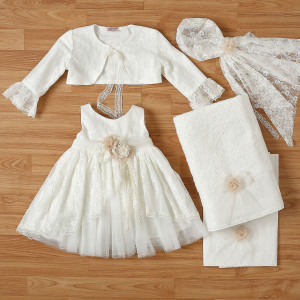 Ολοκληρωμένο πακέτο βάπτισηs με αυτό το φόρεμα New Life (#2336-5-110#) Με βαλίτσα rain η παγκάκι θρανίο. Δωρεάν Μεταφορικά!