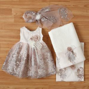 Ολοκληρωμένο πακέτο βάπτισηs με αυτό το φόρεμα New Life (#2344-5-110#) Με βαλίτσα rain η παγκάκι θρανίο. Δωρεάν Μεταφορικά!