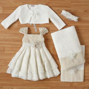 Ολοκληρωμένο πακέτο βάπτισηs με αυτό το φόρεμα New Life (#2346-2-110#) Με βαλίτσα rain η παγκάκι θρανίο. Δωρεάν Μεταφορικά!
