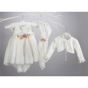 Ολοκληρωμένο πακέτο σετ βάπτισης με αυτό το φόρεμα New Life 2436-2 narlis.gr