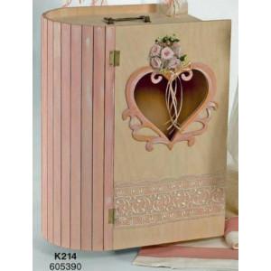 Μπαούλο ξύλινο βιβλιο καρδιά (Κωδ.Κ214)