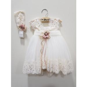 Ολοκληρωμένο πακέτο βάπτισηs με αυτό το φόρεμα (La christine Κωδ.Κ-18-316-135)  Με βαλίτσα rain η παγκάκι θρανίο Δωρεάν μεταφορικά