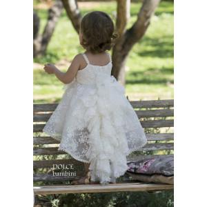 Ολοκληρωμένο πακέτο βάπτισηs με αυτό το Φόρεμα (Dolce Bambini #Κ307-1-180#) Με βαλίτσα rain η παγκάκι θρανίο Δωρεάν μεταφορικά