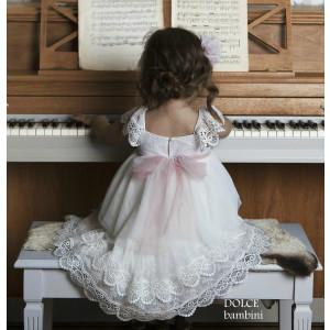 Ολοκληρωμένο πακέτο βάπτισηs με αυτό το Φόρεμα (Dolce Bambini #Κ335-1-170#) Με βαλίτσα rain η παγκάκι θρανίο Δωρεάν μεταφορικά