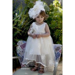 Ολοκληρωμένο πακέτο βάπτισηs με αυτό το Φόρεμα (Dolce Bambini #Κ403-1-205#) Με βαλίτσα rain η παγκάκι θρανίο!