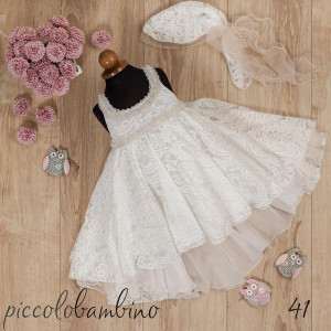 Ολοκληρωμένο πακέτο βάπτισηs με αυτό το Φόρεμα (Picolo Bambino Κωδ.223-136-Φώτο41) Με το κουτί