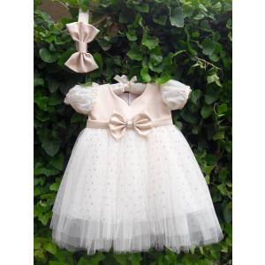 Ολοκληρωμένο πακέτο βάπτισηs με αυτό το φόρεμα (La christine Κωδ.18Κ4058)  (Με Βάλίτσα η παγκάκι θρανίο !!!!!!!!