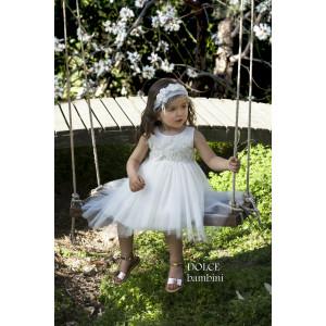 Ολοκληρωμένο πακέτο βάπτισηs με αυτό το Φόρεμα (Dolce Bambini #Κ460-1-160#) Με βαλίτσα rain η παγκάκι θρανίο Δωρεάν μεταφορικά