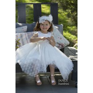 Ολοκληρωμένο πακέτο βάπτισηs με αυτό το Φόρεμα (Dolce Bambini #Κ486-1-185#) Με βαλίτσα rain η παγκάκι θρανίο Δωρεάν μεταφορικά
