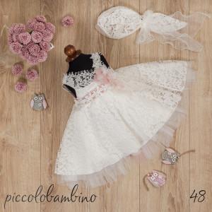 Ολοκληρωμένο πακέτο βάπτισηs με αυτό το Φόρεμα (Picolo Bambino Κωδ.228-120-Φώτο48) Με το κουτί