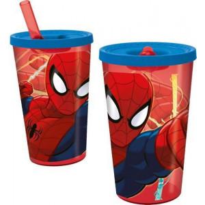 Παγούρι πλαστικό Spiderman με καλαμάκι 450ml (#760.239.031#)