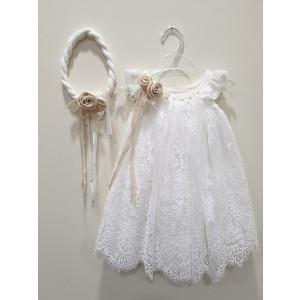 Ολοκληρωμένο πακέτο βάπτισηs με αυτό το φόρεμα (La christine #Κ-19-181-130#) Με βαλίτσα rain η παγκάκι θρανίο Δωρεάν μεταφορικά