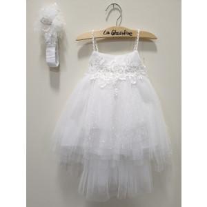 Ολοκληρωμένο πακέτο βάπτισηs με αυτό το φόρεμα (La christine #Κ-19-167-130#) Με βαλίτσα rain η παγκάκι θρανίο Δωρεάν μεταφορικά