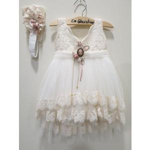 Ολοκληρωμένο πακέτο βάπτισηs με αυτό το φόρεμα (La christine #Κ-19-155-130#) Με βαλίτσα rain η παγκάκι θρανίο Δωρεάν μεταφορικά