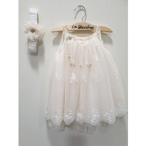 Ολοκληρωμένο πακέτο βάπτισηs με αυτό το φόρεμα (La christine #Κ-19-133-135#) Με βαλίτσα rain η παγκάκι θρανίο Δωρεάν μεταφορικά