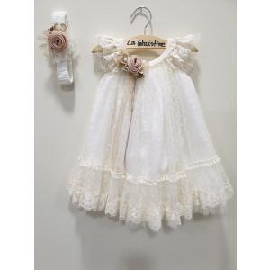 Ολοκληρωμένο πακέτο βάπτισηs με αυτό το φόρεμα (La christine #Κ-19-117-120#) Με βαλίτσα rain η παγκάκι θρανίο Δωρεάν μεταφορικά