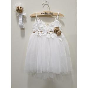 Ολοκληρωμένο πακέτο βάπτισηs με αυτό το φόρεμα (La christine #Κ-19-123-127#) Με βαλίτσα rain η παγκάκι θρανίο Δωρεάν μεταφορικά