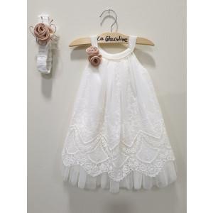 Ολοκληρωμένο πακέτο βάπτισηs με αυτό το φόρεμα (La christine #Κ-19-171-125#) Με βαλίτσα rain η παγκάκι θρανίο Δωρεάν μεταφορικά