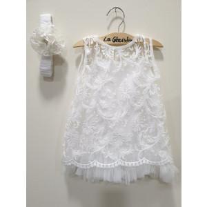 Ολοκληρωμένο πακέτο βάπτισηs με αυτό το φόρεμα (La christine #Κ-19-197-130#) Με βαλίτσα rain η παγκάκι θρανίο Δωρεάν μεταφορικά
