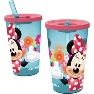 Παγούρι πλαστικό Minnie με καλαμάκι 450ml (#760.239.035#)
