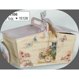 Ξύλινο κουτί πικνίκ vintage (Κ106-2)(86)