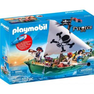 Playmobil Πειρατικό Πλοιάριο με Υποβρύχιο Μοτέρ 70151 Κωδ. 787.342.376