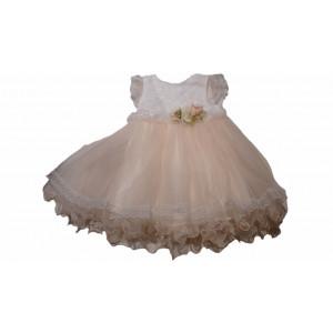 Φόρεμα Βαπτιστικό Τούλινο Σομόν (Κωδ.722.330.000)