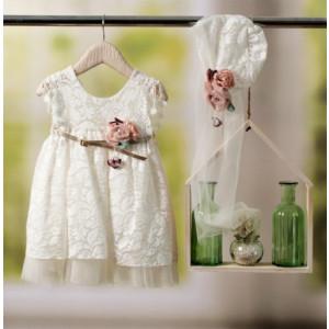 Ολοκληρωμένο πακέτο βάπτισηs με αυτό το φόρεμα Bambolino Ifigenia (#8775-150-310#) Με βαλίτσα rain η παγκάκι θρανίο Ζητήστε προσφορά !!