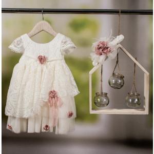 Ολοκληρωμένο σετ βάπτισης φόρεμα Bambolino Mania 8777-140-305 Με Βάλίτσα η παγκάκι θρανίο και με άλλες επιλογές Ζητήστε προσφορά !!
