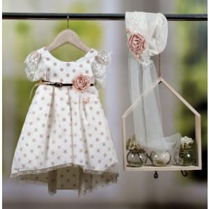 Ολοκληρωμένο πακέτο βάπτισηs με αυτό το φόρεμα Bambolino Myrto (#8779-175-335#) Με βαλίτσα rain η παγκάκι θρανίο Ζητήστε προσφορά !!