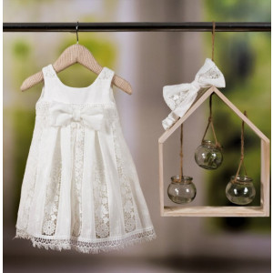 Ολοκληρωμένο πακέτο βάπτισηs με αυτό το φόρεμα Bambolino Stefania (#8806-155-315#) Με βαλίτσα rain η παγκάκι θρανίο Ζητήστε προσφορά !!