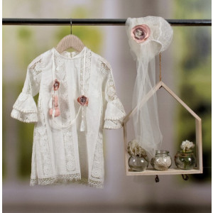 Ολοκληρωμένο πακέτο βάπτισηs με αυτό το φόρεμα Bambolino Laoura (#8809-175-335#) Με βαλίτσα rain η παγκάκι θρανίο Ζητήστε προσφορά !!