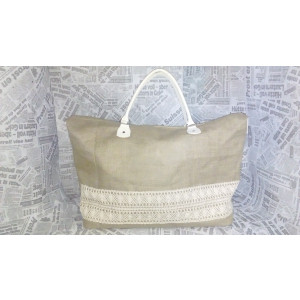 Τσάντα λινάτσα με δαντέλα (Κ0015-10)