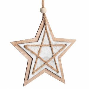 Μπομπονιέρα Βάπτισης Ξύλινο κρεμαστό διπλό αστέρι 8279-096 Parisis Ζητήστε προσφορά !!!!