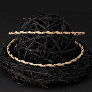 Στέφανα γάμου από φυσικό ξύλο με ασήμι 925 και χρυσή βέργα 24 καρατίων (Authentique art Κωδ.Ξ0402)