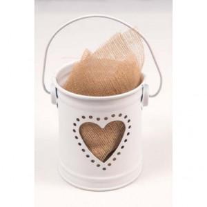 Μπομπονιέρες Γάμου Βάπτισης Μεταλλικό Κουβαδάκι με Καρδία Λευκό ΜΕΤ1 Riniotis