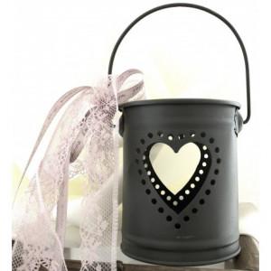 Μπομπονιέρες Γάμου Βάπτισης Μεταλλικό Κουβαδάκι με Καρδία Ανθρακί ΜΕΤ1Γ Riniotis