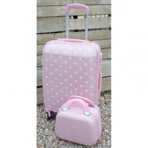 Βαλίτσα ταξιδίου ροζ πουά  (Κωδ.ΒΑΛ2Α)