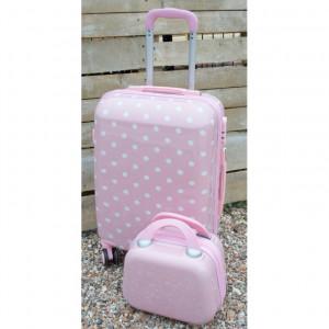 Βαλίτσες ταξιδιού ΒΑΛ2Α  ροζ με λευκό πουά narlis.gr