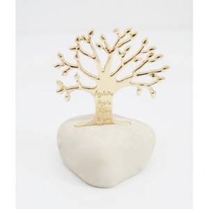 Μπομπονιέρες Γάμου Βότσαλο με Χρυσό Δέντρο Ζωής με Ευχές ΒΑ32  Riniotis