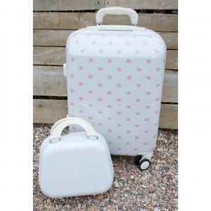 Βαλίτσες ταξιδιού ΒΑΛ5Α  λευκή με ροζ πουά