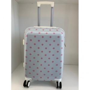 Βαλίτσες ταξιδιού ΒΑΛ5Α-1 λευκή με ροζ πουά narlis.gr