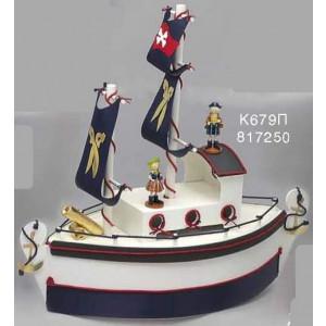 Καράβι ξύλινο πειρατές λευκό/κόκκινο/μπλε Κωδ.Κ679Π