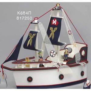 Κουτί ξύλινο καράβι δίχτυ μπλε λευκό/μπλε/κόκκινο Κωδ.Κ684Π