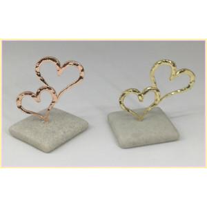 Μπομπονιέρες Γάμου Πέτρα Καρδιές Ροζ Χρυσό ΒΑ45 Riniotis