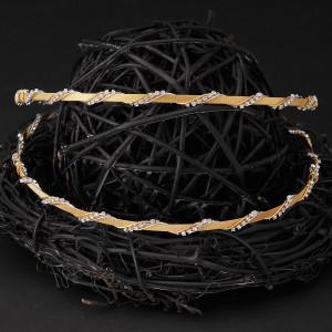Στέφανα γάμου ασήμι 925 με χρυσό 24 καρατίων και Swarovski (Authentique art Κωδ.Σ0420)