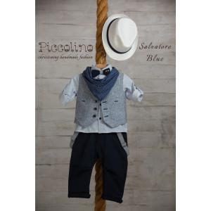 Ολοκληρωμένο πακέτο βάπτισηs με αυτό το κουστούμι (Piccolino SALVATORE #AG19S21-135#BLUE) (Με Βάλίτσα η παγκάκι θρανίο) Δωρεάν μεταφορικά!!