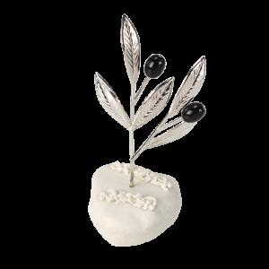Μπομπονιέρα Γάμου Κλαδί Ελιάς Ασημί σε Βότσαλο 82109-195 Andronidis Ζητήστε προσφορά !!!!